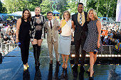Ginger Zee Iggy Azalea George Stephanopoulos Amy Robach Michael Strahan and Lara Spencer pose onstage during ABC's 'Good Morning America's' 2016...