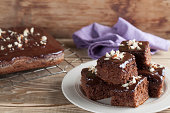 Gingerbread cake with chocolate and hazelnuts. Shallow dof,