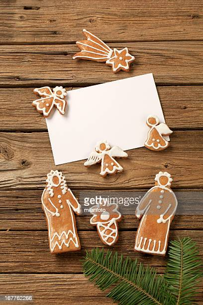 Gingerbread cookies and sheet of paper