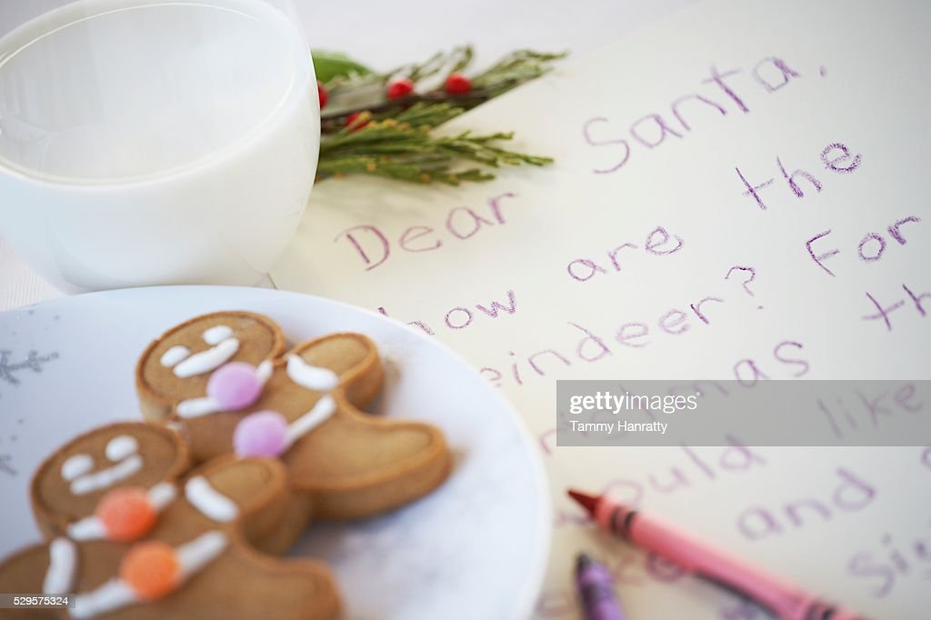 Gingerbread Cookies Left for Santa Claus : Stock-Foto