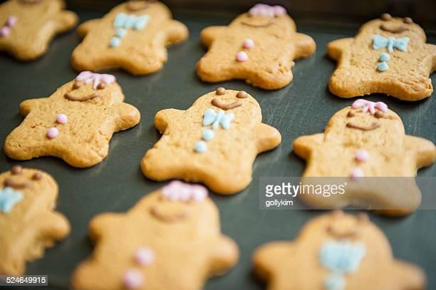 Gingerbread Cookies on Baking Sheet