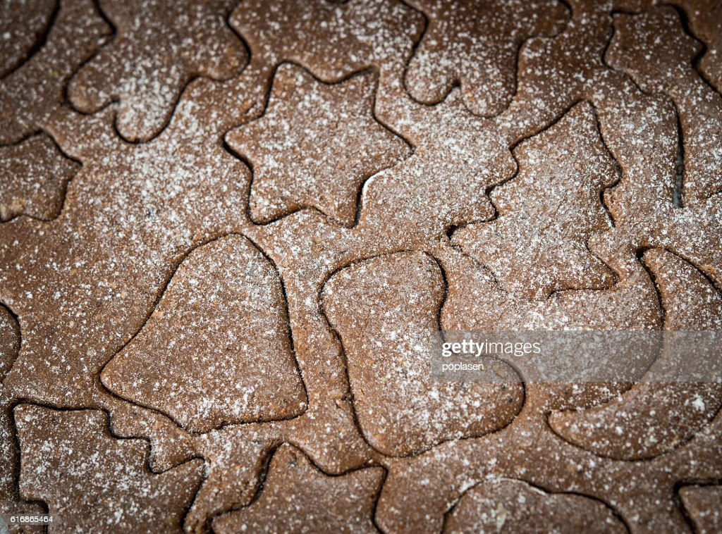 Gingerbread dough background for Christmas cookies : Stock Photo