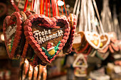 Gingerbread heart as sweet with Frohe Weichnacht letters