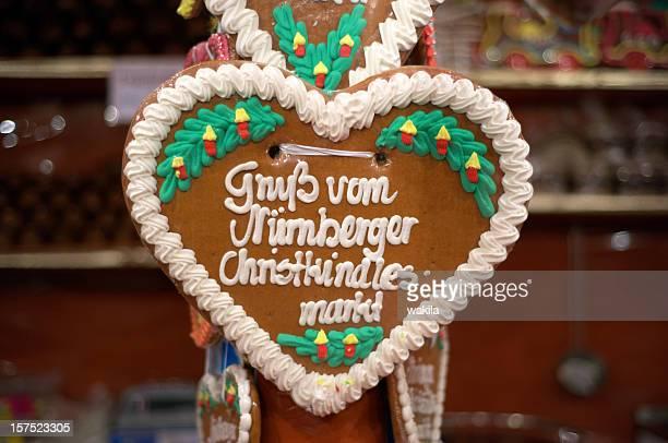 Lebkuchen Herzen von Nürnberg-Lebkuchenherz vom Christkindlasmarkt Weihnachtsmarkt