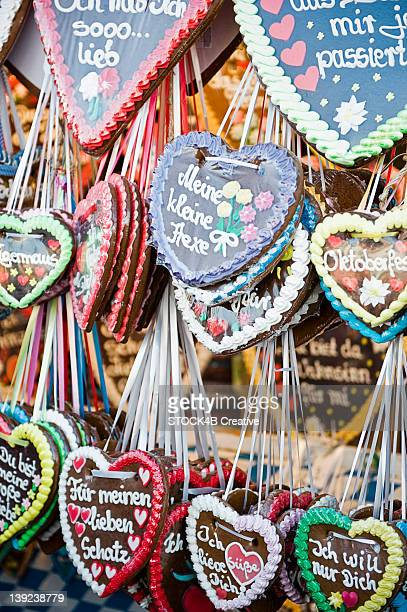 Gingerbread hearts on the Oktoberfest in Munich, Bavaria, Germany