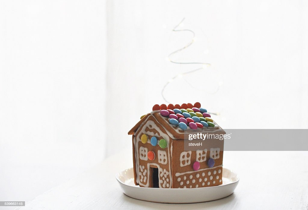 Gingerbread house on plate