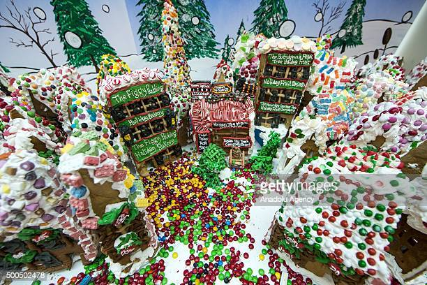 Gingerbread Lane Village created by Chef Jon Lovitch is being displayed at the New York Hall of Science in the New York NY USA on December 08 2015...