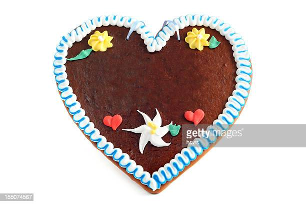 A gingerbread love heart shaped cookie
