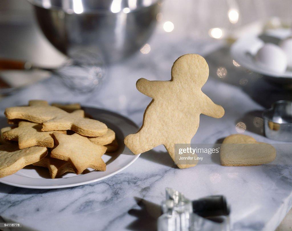 Gingerbread man escaping : Stock Photo