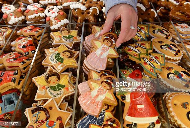 Gingerbreads are for sale at a stand of the traditional Christmas Market in Nuremberg southern Germany on November 29 2013 The traditional...