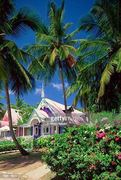 Gingerbread-style shops in Mustique, St. Vincent, Windward Islands