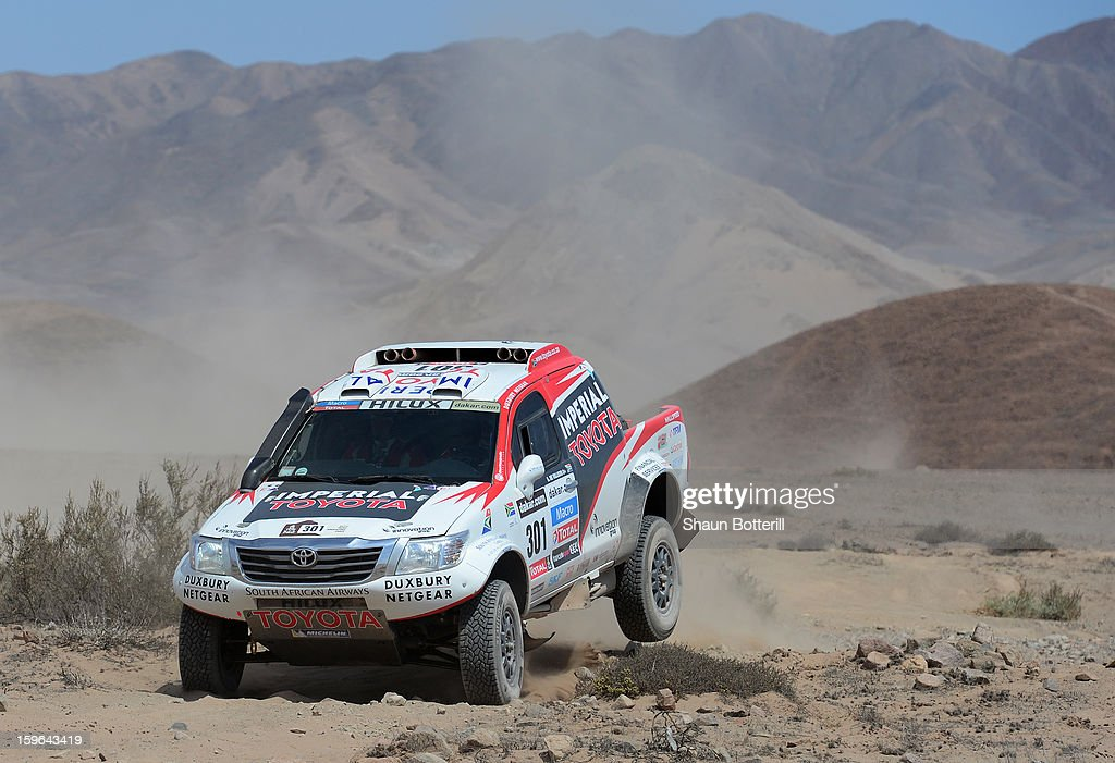 Giniel De Villiers and co-driver Dirk Von Zitzewitz of team Toyota compete in stage 12 from Fiambala to Copiapo during the 2013 Dakar Rally on January 17, 2013 in Fiambala, Argentina.