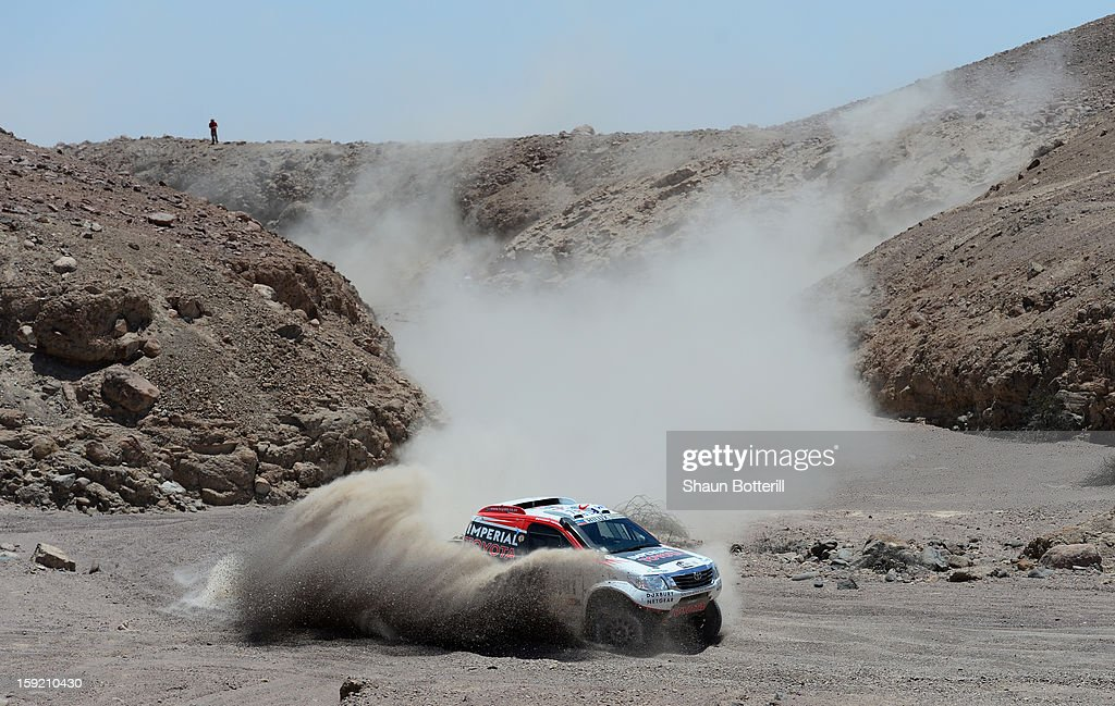 Giniel De Villiers and co-pilot Dirk Von Zitzewitz of team Toyota compete in stage 5 from Arequipa to Arica during the 2013 Dakar Rally on January 9, 2013 in Arequipa, Peru.