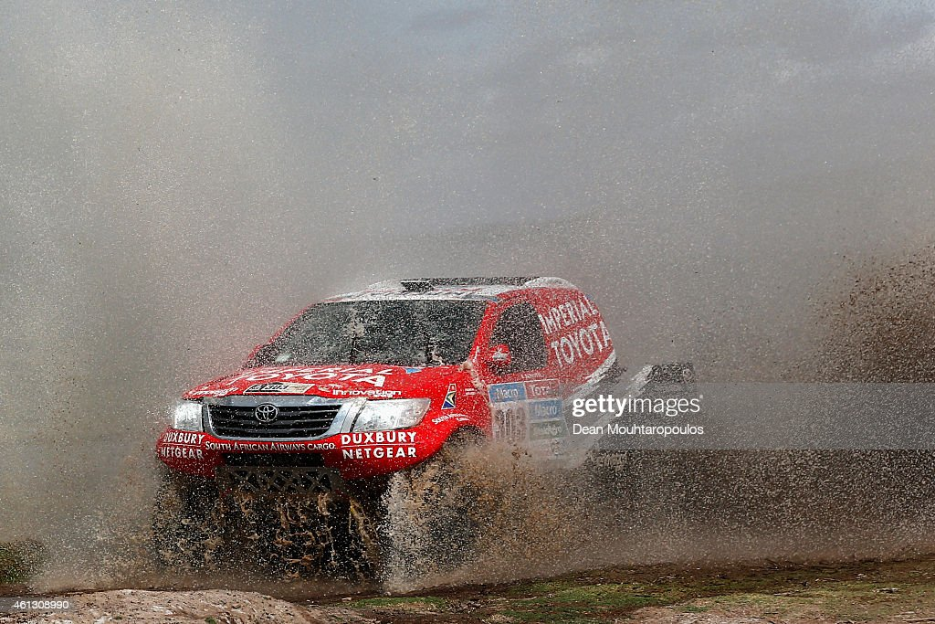 Giniel De Villiers of South Africa and Dirk Von Zitzewitz of Germany for Toyota Imperial Team South Africa in the Pick Up Hilux compete during day 7 of the Dakar Rallly between Iquique in Chile and Uyuni in Bolivia on January 10, 2015 near Oruro, Bolivia.