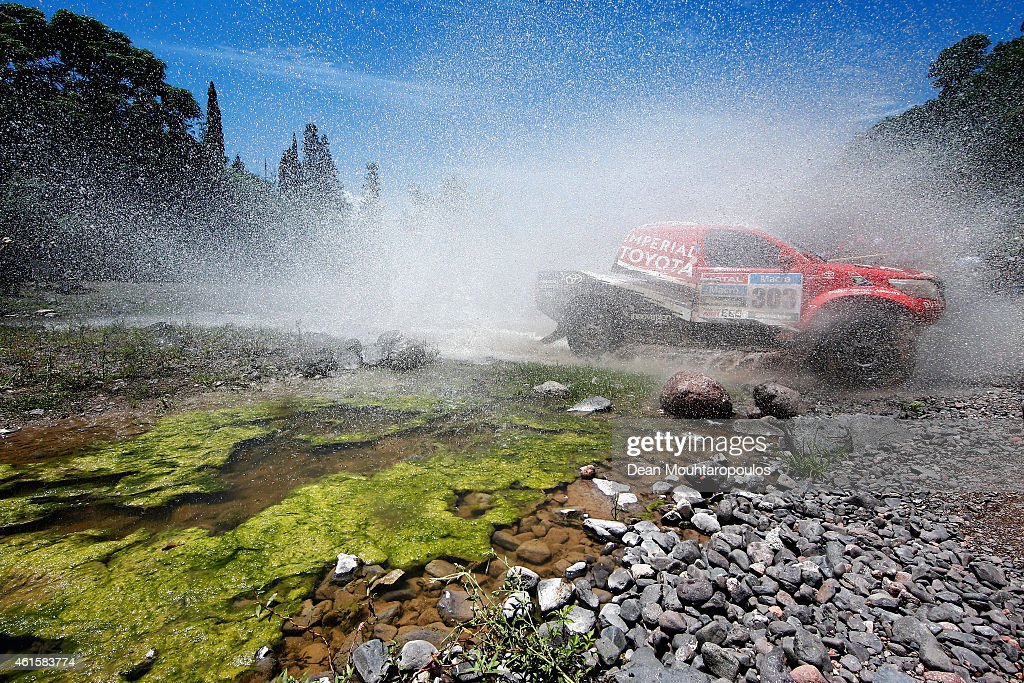 Giniel De Villiers of South Africa and Dirk Von Zitzewitz of Germany for Toyota Imperial Team South Africa in the Pick Up Hilux compete during Stage 11 on day 12 of the Dakar Rally between Salta and Termas de Rio Hondo on January 15, 2015 near San Miguel de Tucuman, Argentina.