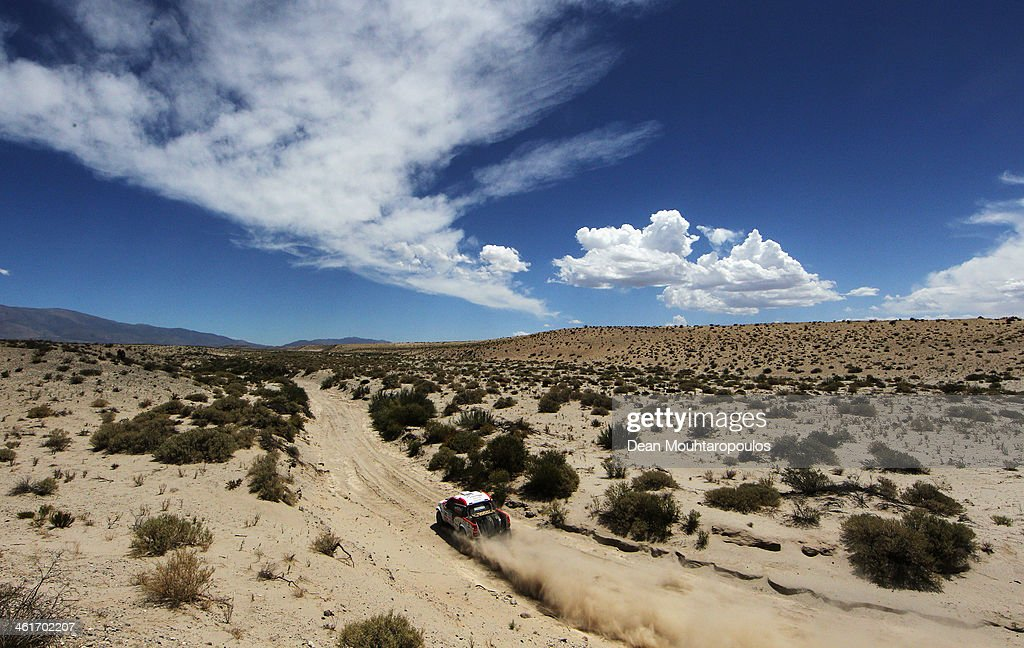 Giniel De Villiers of South Africa and Dirk Von Zitzewitz of Germany for Imperial Toyota compete in the Dakar Rally during Day 5 of the 2014 Dakar Rally on January 9, 2014 in San Jose, Argentina.