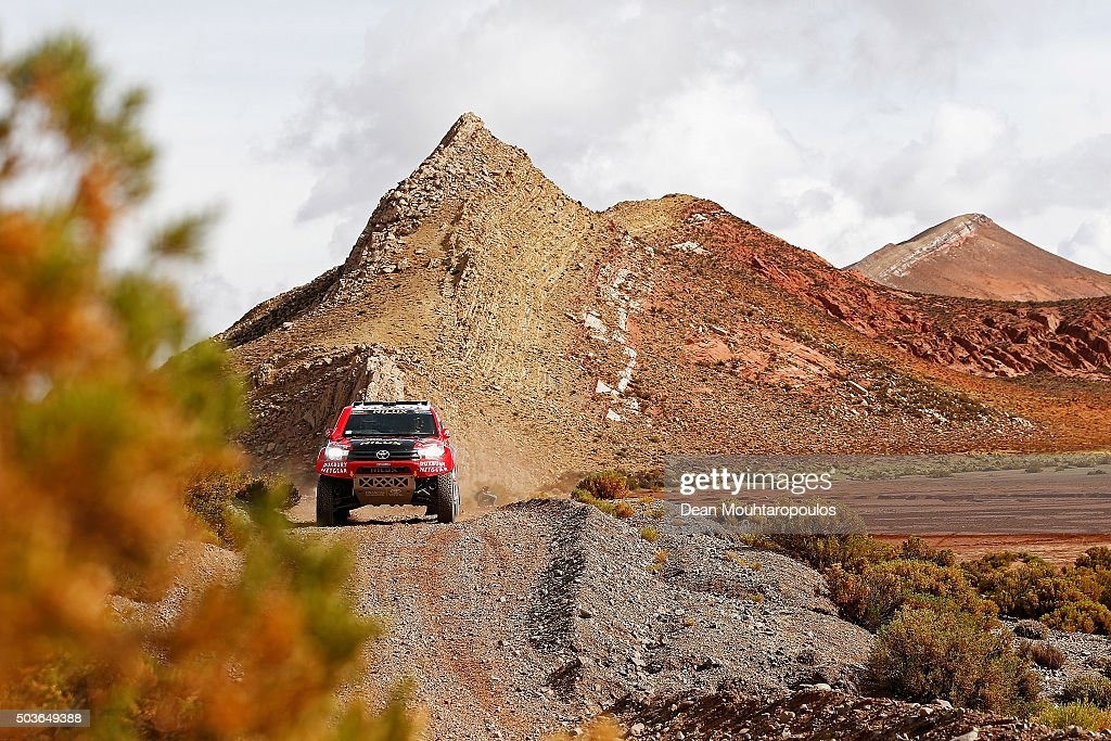 Giniel De Villiers of South Africa and Dirk Von Zitzewitz of Germany in the TOYOTA HILUX for TOYOTA GAZOO RACING compete on day 4 in the San Salvador de Jujuy stage four of the 2016 Dakar Rally on January 6, 2016 close to Purmamarca, Argentina.