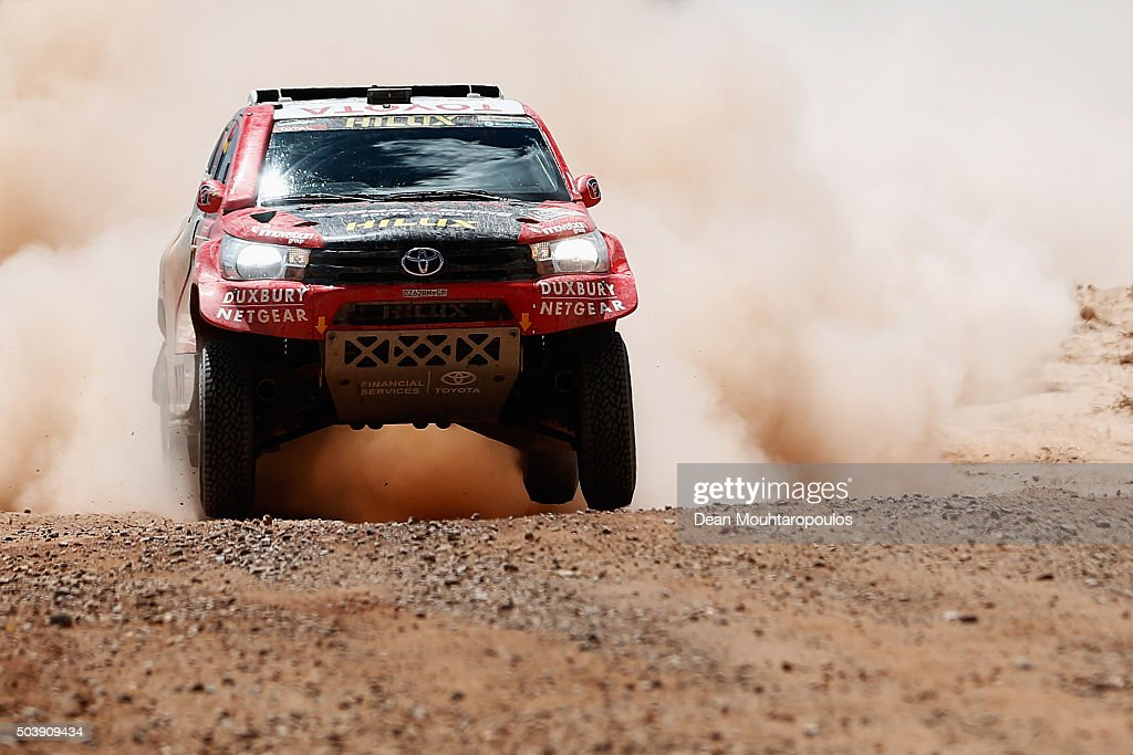 Giniel De Villiers of South Africa and Dirk Von Zitzewitz of Germany in the TOYOTA HILUX for TOYOTA GAZOO RACING compete on day 5 from Jujuy in Argentina to Uyuni in Bolivia during stage five of the 2016 Dakar Rally on January 7, 2016 in Villazon, Bolivia .