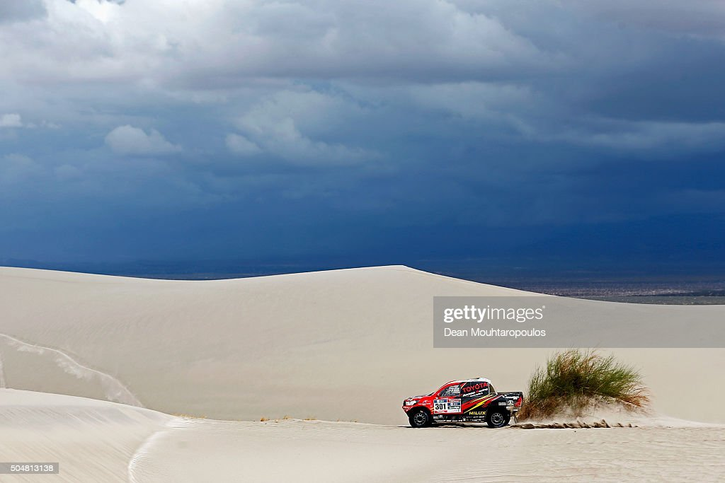 Giniel De Villiers of South Africa and Dirk Von Zitzewitz of Germany in the TOYOTA HILUX for TOYOTA GAZOO RACING compete on day 11 stage ten between Belen and La Rioja during the 2016 Dakar Rally on January 13, 2016 in near Fiambala, Argentina.