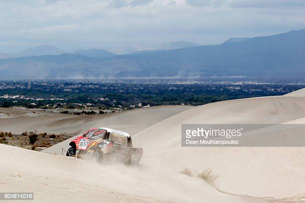 Giniel De Villiers of South Africa and Dirk Von Zitzewitz of Germany in the TOYOTA HILUX for TOYOTA GAZOO RACING compete on day 11 stage ten between...