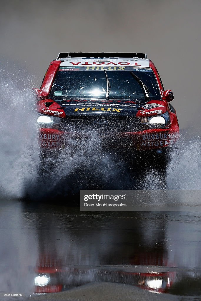 Giniel De Villiers of South Africa and Dirk Von Zitzewitz of Germany in the TOYOTA HILUX for TOYOTA GAZOO RACING compete on day 13 / stage twelve between San Juan to Villa Carlos Paz during the 2016 Dakar Rally on January 15, 2016 near Serrezuela, Argentina.
