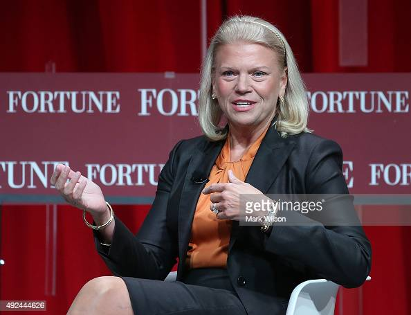 Ginni Rometty Chairman President and CEO of IBM speaks during the FortuneÊsummit onÊÒThe Most Powerful WomenÓ at theÊMandarin Hotel October 13 2015...