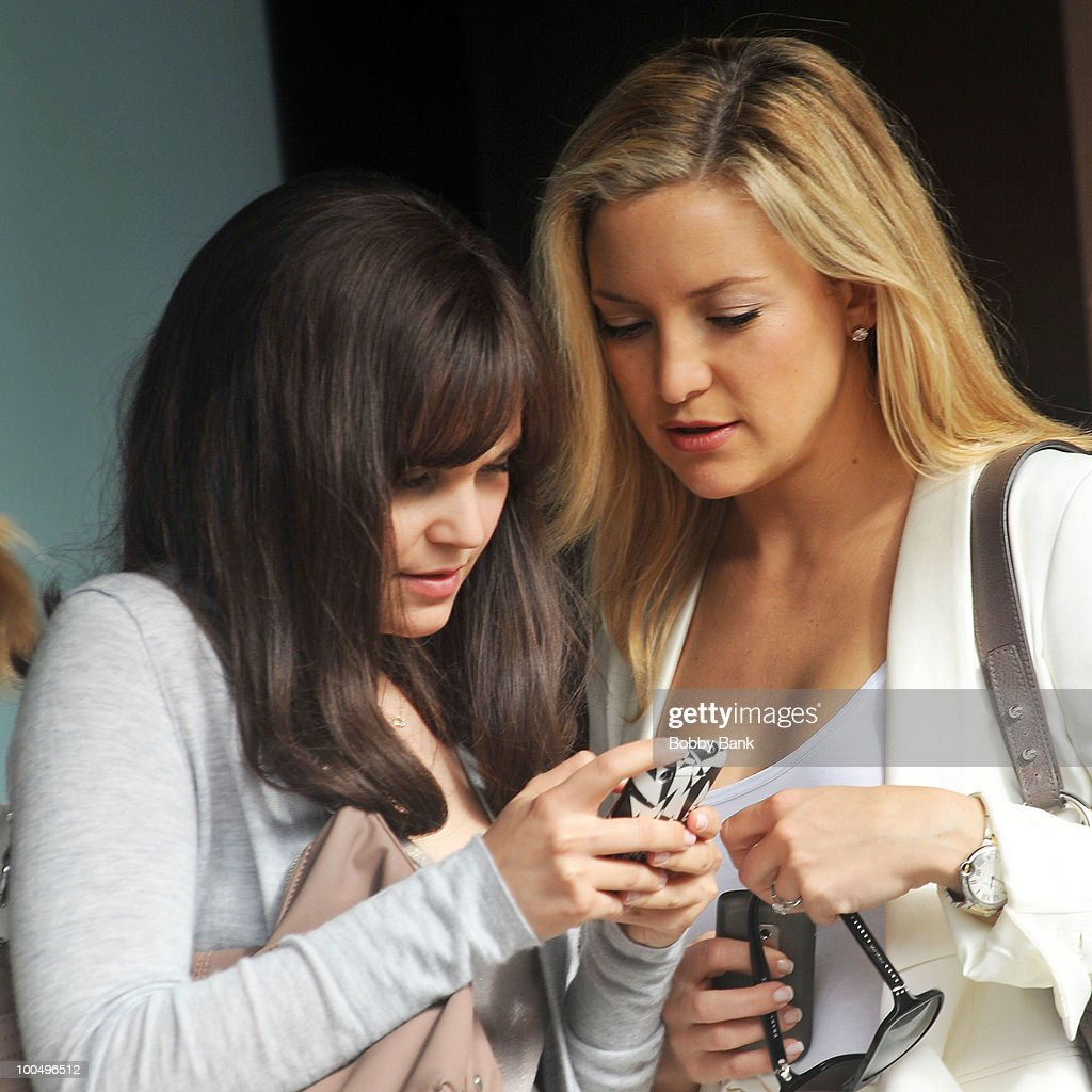 Ginnifer Goodwin and Kate Hudson on location for 'Something Borrowed' on the streets of Manhattan on May 24, 2010 in New York City.