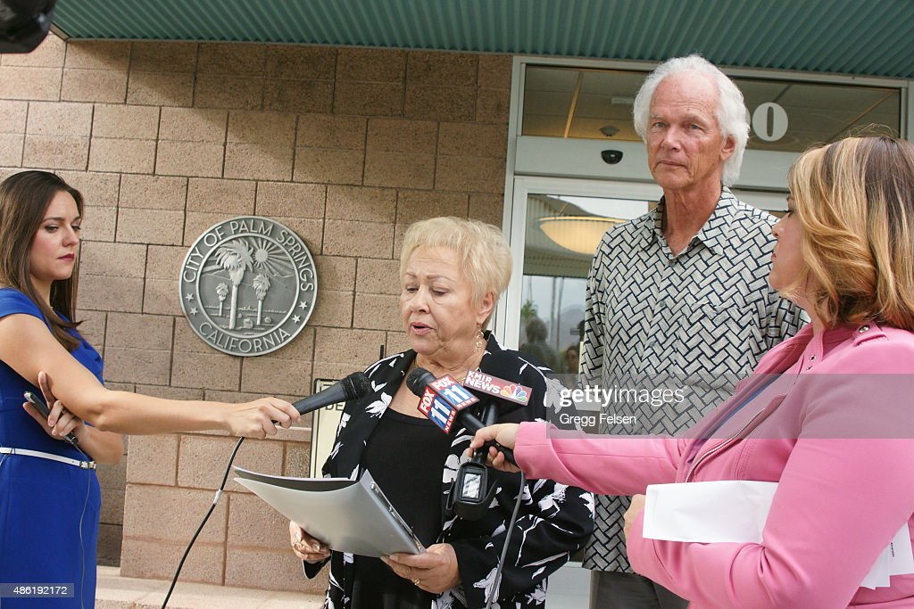 Ginny Foat Palm Springs City Councilmember and current candidate for Mayor of Palm Springs speaks to the media as City Councilmember Chris Mills...