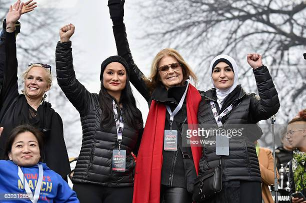 Ginny Suss Carmen Perez Gloria Steinem and Linda Sarsour and appear onstage during the Women's March on Washington on January 21 2017 in Washington DC