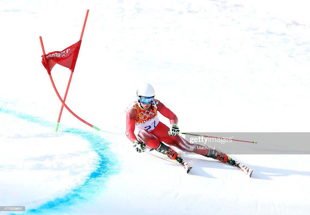 Gino Caviezel of Switzerland competes during round two of the Men's Giant Slalom on Day 12 of the Sochi 2014 Winter Olympics at Rosa Khutor Alpine Centre on February 19, 2014 in Sochi, Russia.