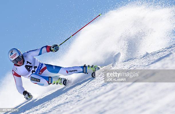 Gino Caviezel of Switzerland competes during the men's giant slalom during the opening FIS SKI World cup in SoeldenAustria on October 26 2014...