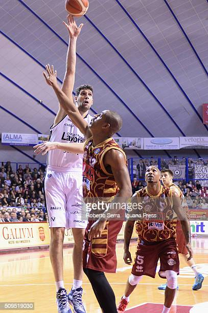 Gino Cuccarolo of Obiettivo Lavoro competes with Josh Owens of Umana during the LegaBasket match between Reyer Umana Venezia and Virtus Obiettivo...