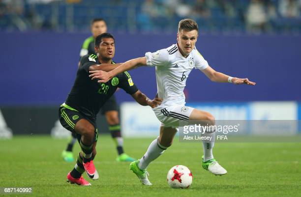 Gino Fechner of Germany beats Eduardo Aguirre of Mexico during the FIFA U20 World Cup Korea Republic 2017 group B match between Mexico and Germany at...
