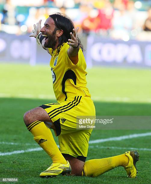 Gino Padula of the Columbus Crew celebrates after defeating the New York Red Bulls at the Home Depot Center during the 2008 MLS Cup on November 23...