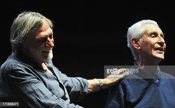 Gino Strada founder of Emergency and jurist and politician Stefano Rodotà attend the Emergency National Meeting on June 28 2013 in Livorno Italy...