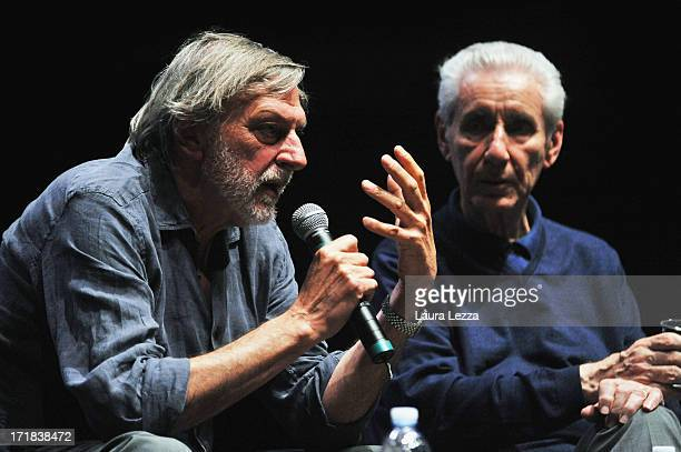 Gino Strada founder of Emergency speaks beside jurist and politician Stefano Rodotà during the Emergency National Meeting on June 28 2013 in Livorno...