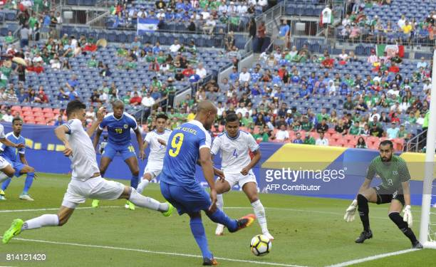 Gino van Kessel of Curacao takes a shot on the El Slavador goal during the El Salvador vs Curacao CONCACAF Group C Gold Cup soccer game on July 13...