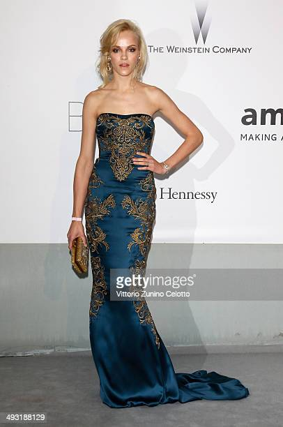 Ginta Lapina attends amfAR's 21st Cinema Against AIDS Gala Presented By WORLDVIEW BOLD FILMS And BVLGARI at Hotel du CapEdenRoc on May 22 2014 in Cap...