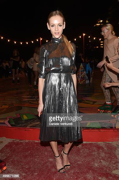 Ginta Lapina attends W Magazine Art Basel Event at Faena Hotel on December 2 2015 in Miami Beach Florida