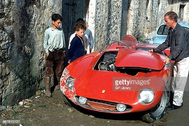 Ginther's damaged Ferrari 250 at the Targa Florio 1960