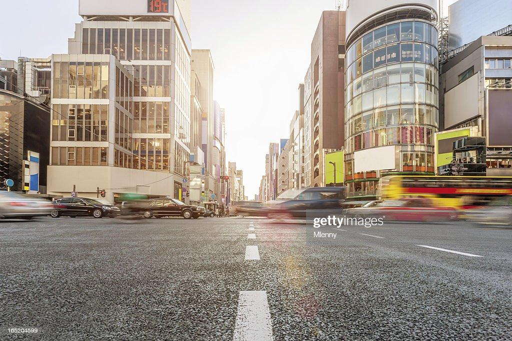Ginza Crossing Traffic Tokyo Japan : Stock Photo