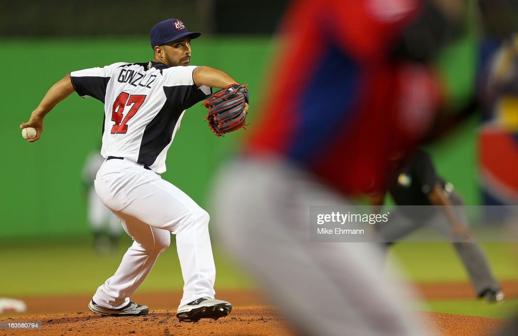 <a gi-track='captionPersonalityLinkClicked' href=/galleries/search?phrase=Gio+Gonzalez&family=editorial&specificpeople=759378 ng-click='$event.stopPropagation()'>Gio Gonzalez</a> #47 of the United States pitches during a World Baseball Classic second round game against Puerto Rico at Marlins Park on March 12, 2013 in Miami, Florida.
