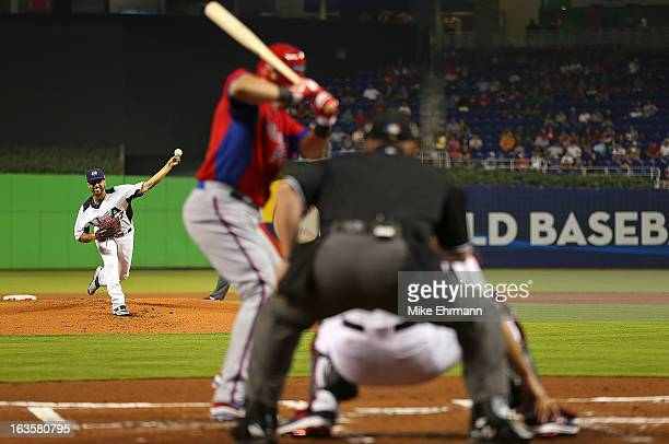 Gio Gonzalez of the United States pitches during a World Baseball Classic second round game against Puerto Rico at Marlins Park on March 12 2013 in...