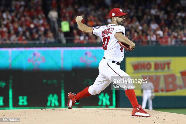 Gio Gonzalez of the Washington Nationals delivers a pitch against the Chicago Cubs during the first inning in game five of the National League...