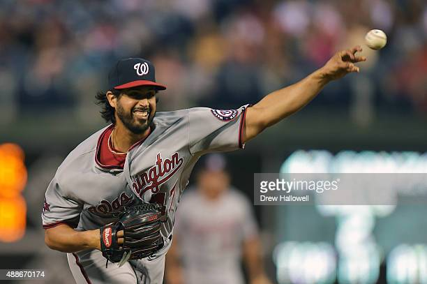 Gio Gonzalez of the Washington Nationals delivers a pitch in the first inning against the Philadelphia Phillies at Citizens Bank Park on September 16...