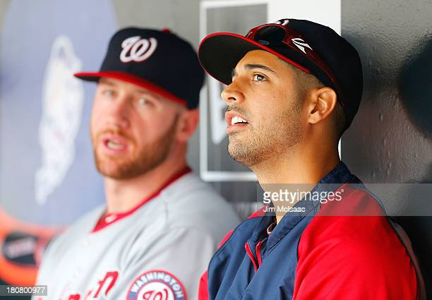 Gio Gonzalez of the Washington Nationals looks on against the New York Mets at Citi Field on September 12 2013 in the Flushing neighborhood of the...