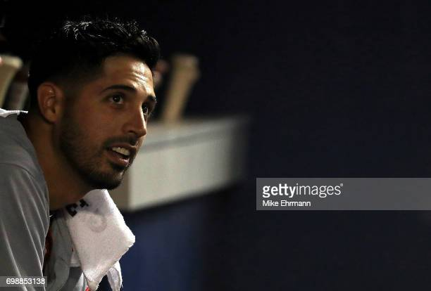 Gio Gonzalez of the Washington Nationals looks on during a game against the Miami Marlins at Marlins Park on June 20 2017 in Miami Florida