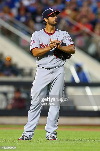 Gio Gonzalez of the Washington Nationals looks on during the game against the New York Mets at Citi Field on July 31 2015 in Flushing neighborhood of...