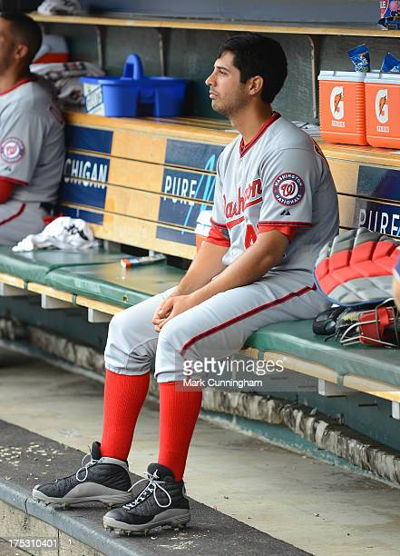 Gio Gonzalez of the Washington Nationals looks on from the dugout during the game against the Detroit Tigers at Comerica Park on July 31 2013 in...