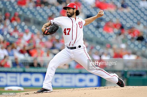 Gio Gonzalez of the Washington Nationals pitches against the Philadelphia Phillies at Nationals Park on September 27 2015 in Washington DC